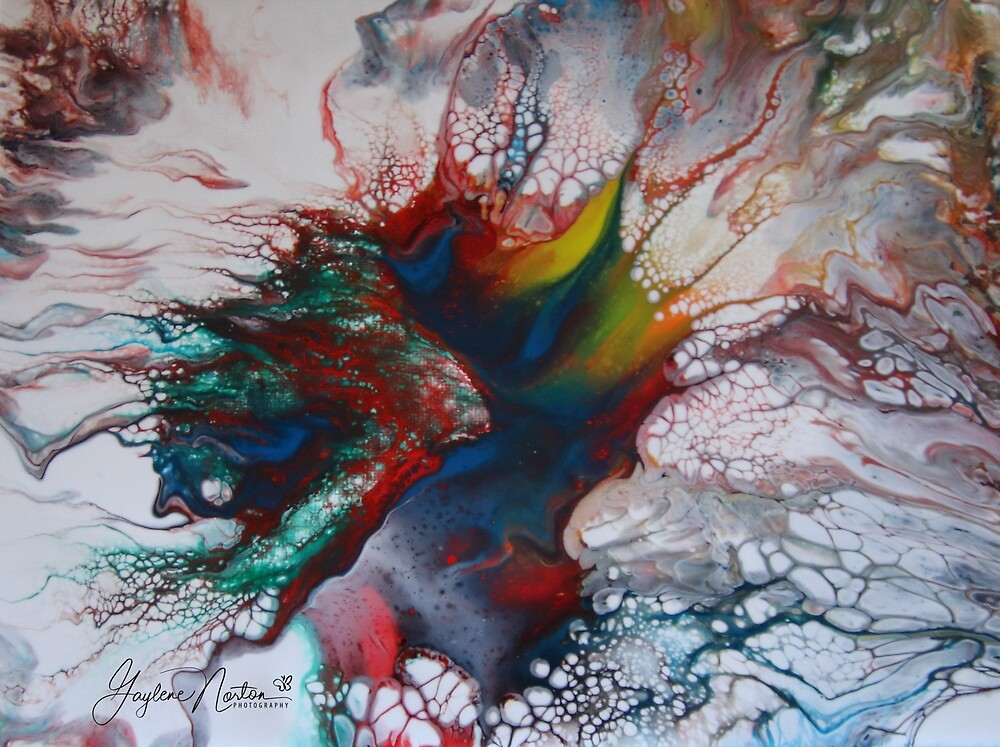 dutch pour painting - Dragon I think by Gaylene Norton