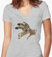 Zumba Zebras Women's Fitted V-Neck T-Shirt