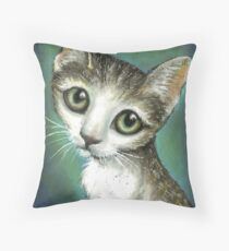 Graceful tabby portrait Throw Pillow