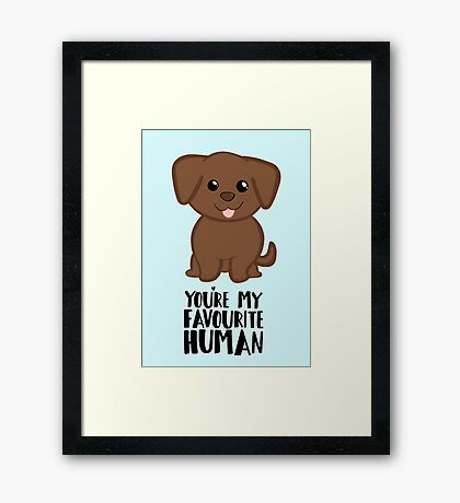You're my Favourite HUMAN - Chocolate Labrador - Gifts from dog Framed Print