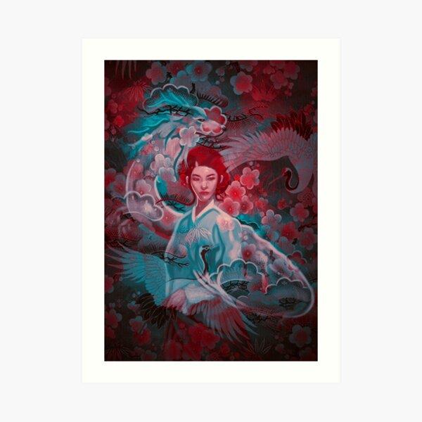 Girl and the dragon Art Print