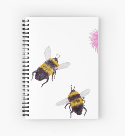 Bumblebees and Thistles Spiral Notebook