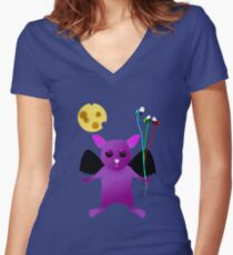 Flying Batty Women's Fitted V-Neck T-Shirt