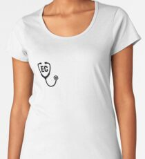 Endicott College Nursing Stethoscope Premium Rundhals-Shirt