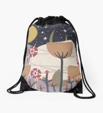 Star Field Meadow Floral Illustration Drawstring Bag