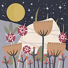 Star Field Meadow Floral Illustration by BirdsongPrints