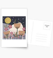 Star Field Meadow Floral Illustration Postcards