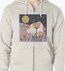 Star Field Meadow Floral Illustration Zipped Hoodie