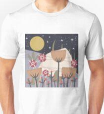 Star Field Meadow Floral Illustration Slim Fit T-Shirt