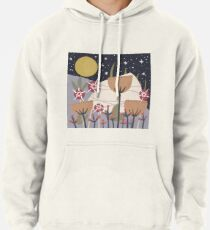 Star Field Meadow Floral Illustration Pullover Hoodie