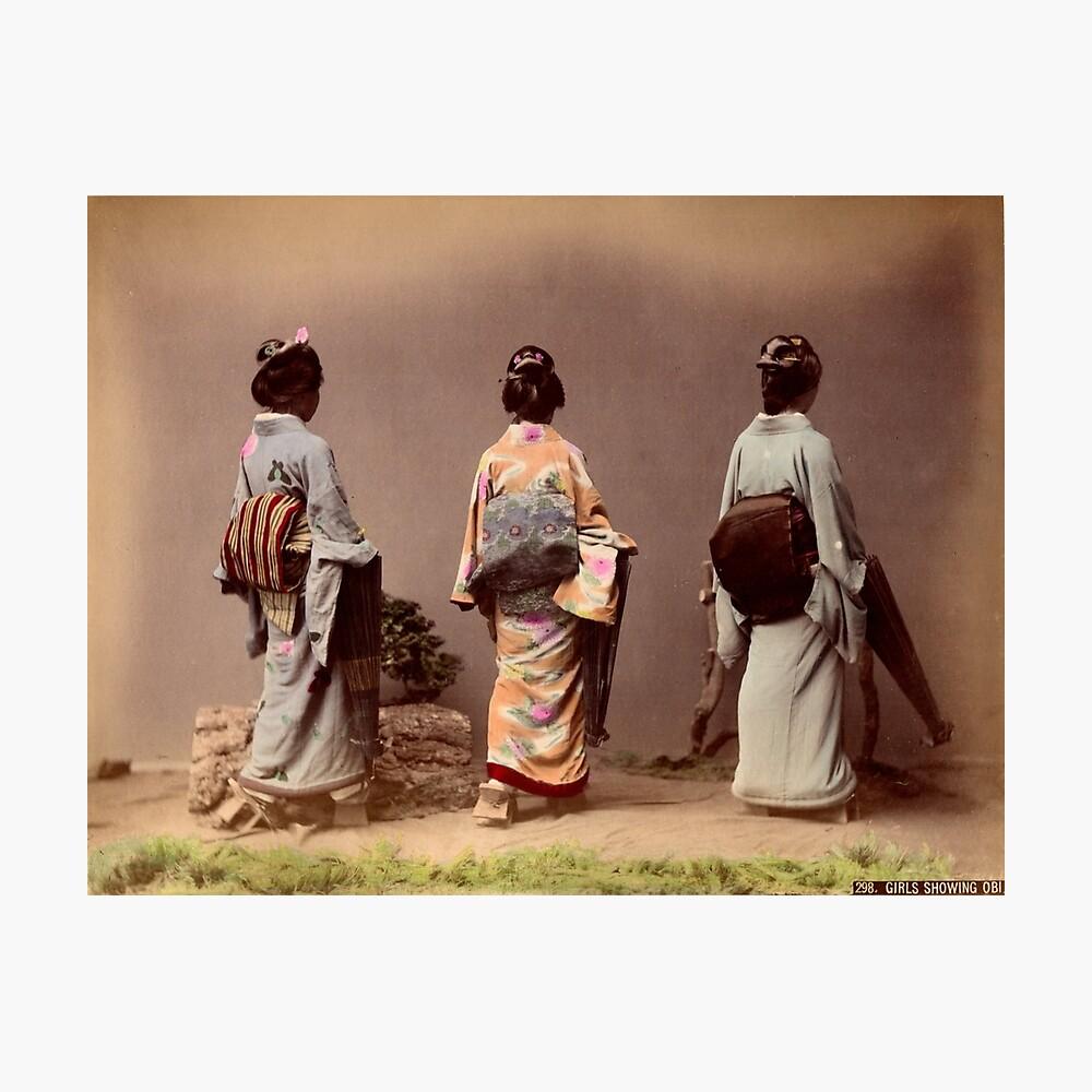 Japanese girls showing Obi Photographic Print