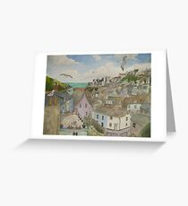 """A Crow's Nest View of Port Isaac, Cornwall"" Greeting Card"