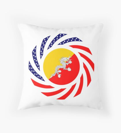 Bhutanese American Multinational Patriot Flag Series Throw Pillow