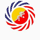 Bhutanese American Multinational Patriot Flag Series by Carbon-Fibre Media