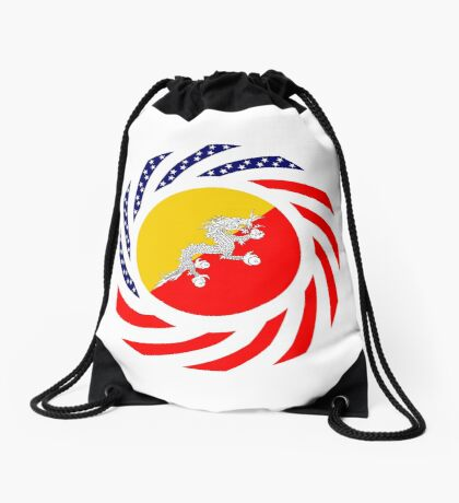 Bhutanese American Multinational Patriot Flag Series Drawstring Bag