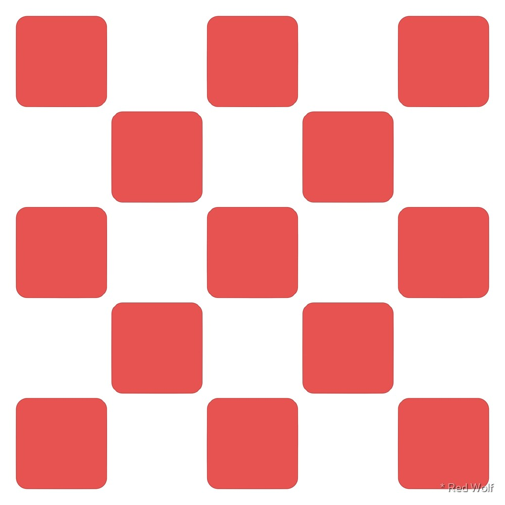 Geometric Pattern: Rounded Weave: White/Red by * Red Wolf