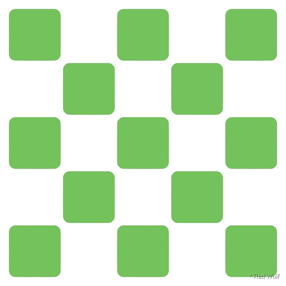 Geometric Pattern: Rounded Weave: White/Green by * Red Wolf