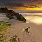 Two Rocks, Green Moss and a Sunset ! by Jonathan Stacey