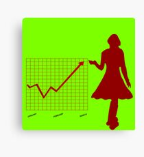 Business chart and women Canvas Print