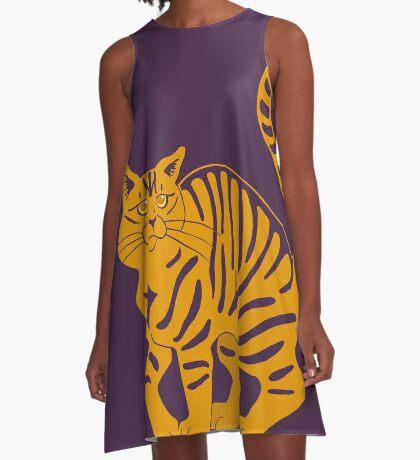 Orange Tabby Cat - tiger stripe A-Line Dress