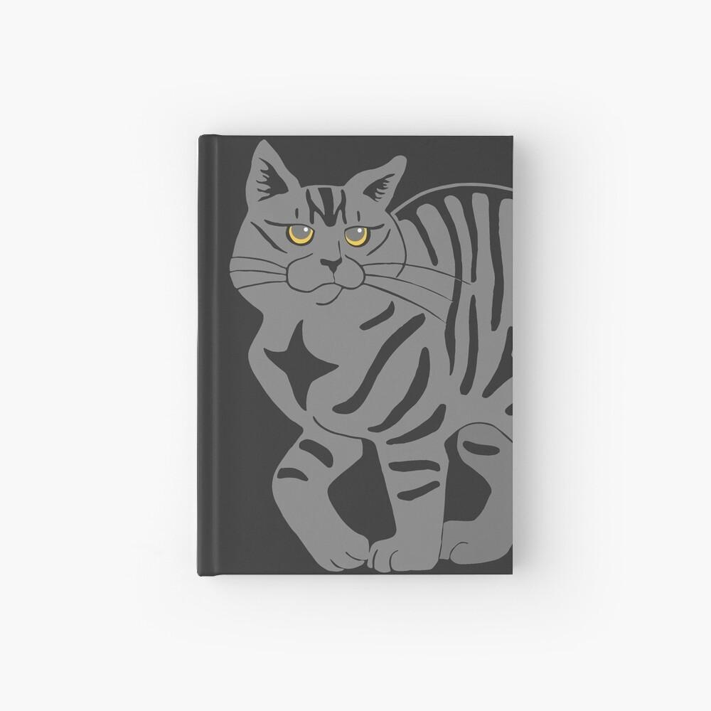 Gray Tabby Cat - tiger stripe Hardcover Journal