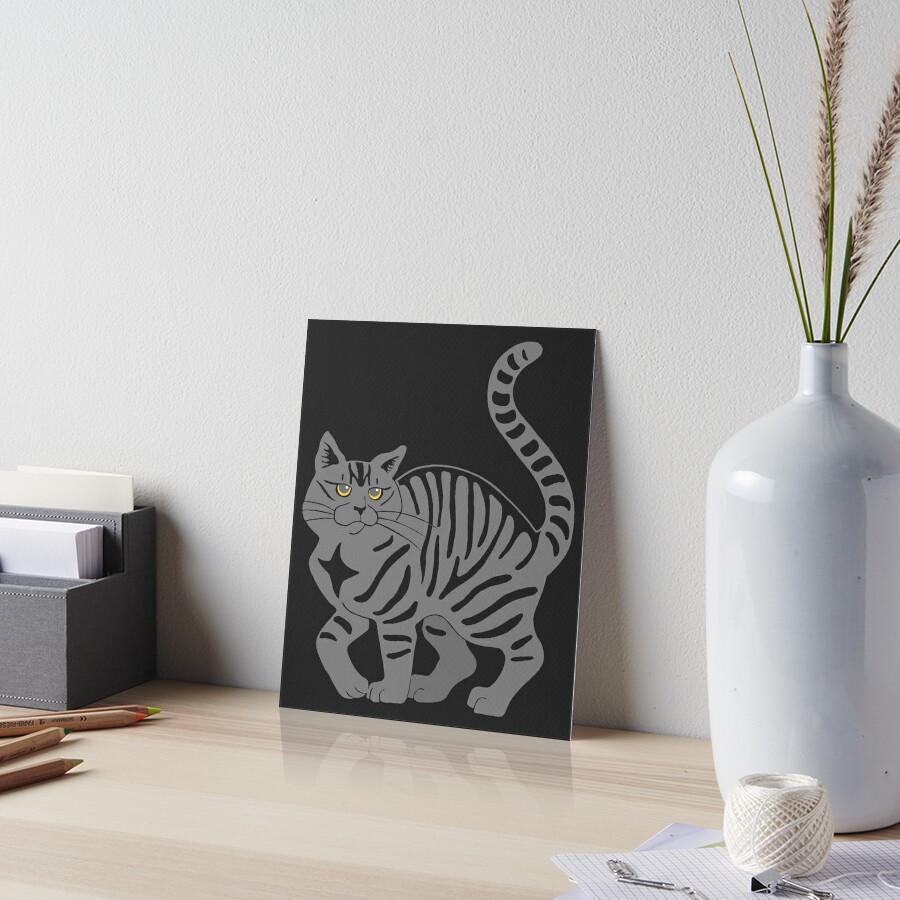 Gray Tabby Cat - tiger stripe Art Board Print