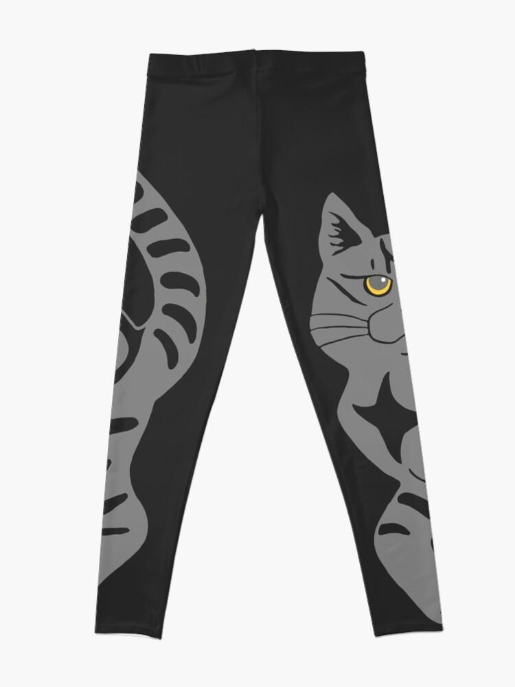 Alternate view of Gray Tabby Cat - tiger stripe Leggings