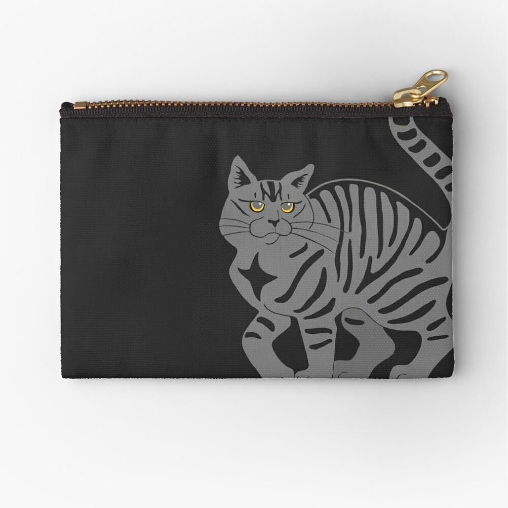 Gray Tabby Cat - tiger stripe Zipper Pouch
