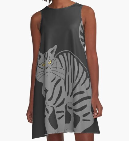 Gray Tabby Cat - tiger stripe A-Line Dress