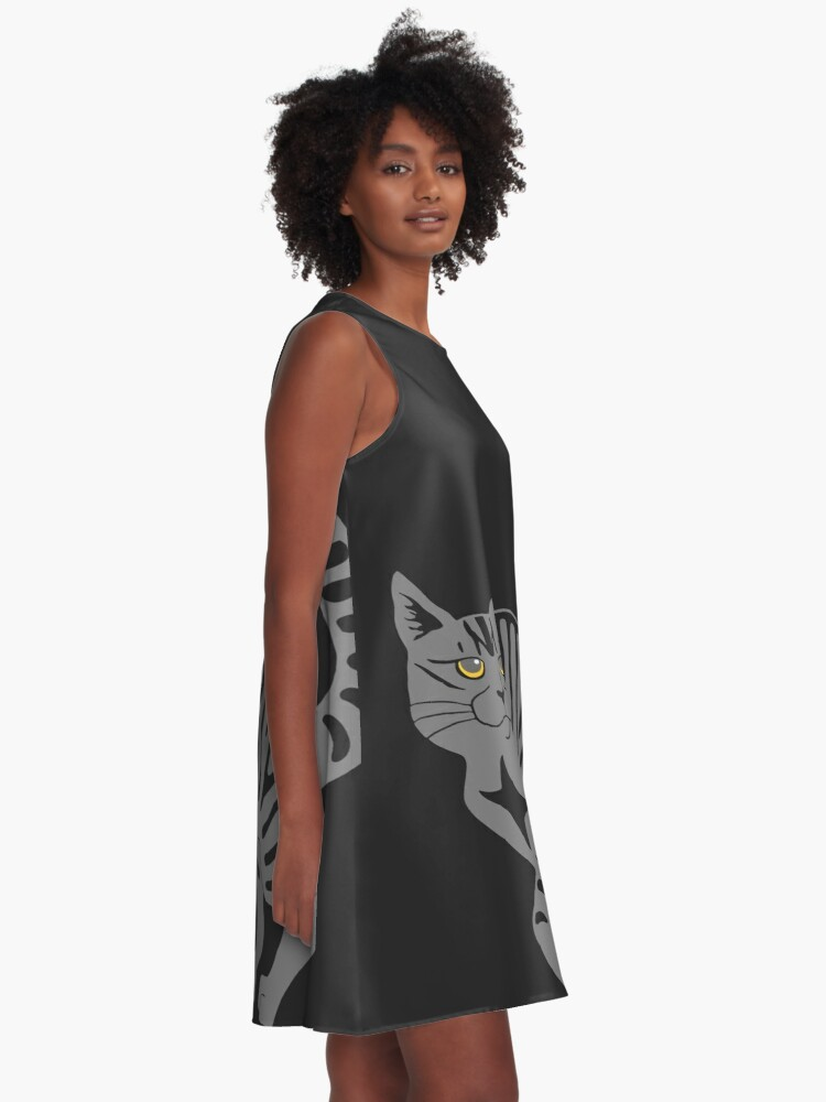Alternate view of Gray Tabby Cat - tiger stripe A-Line Dress