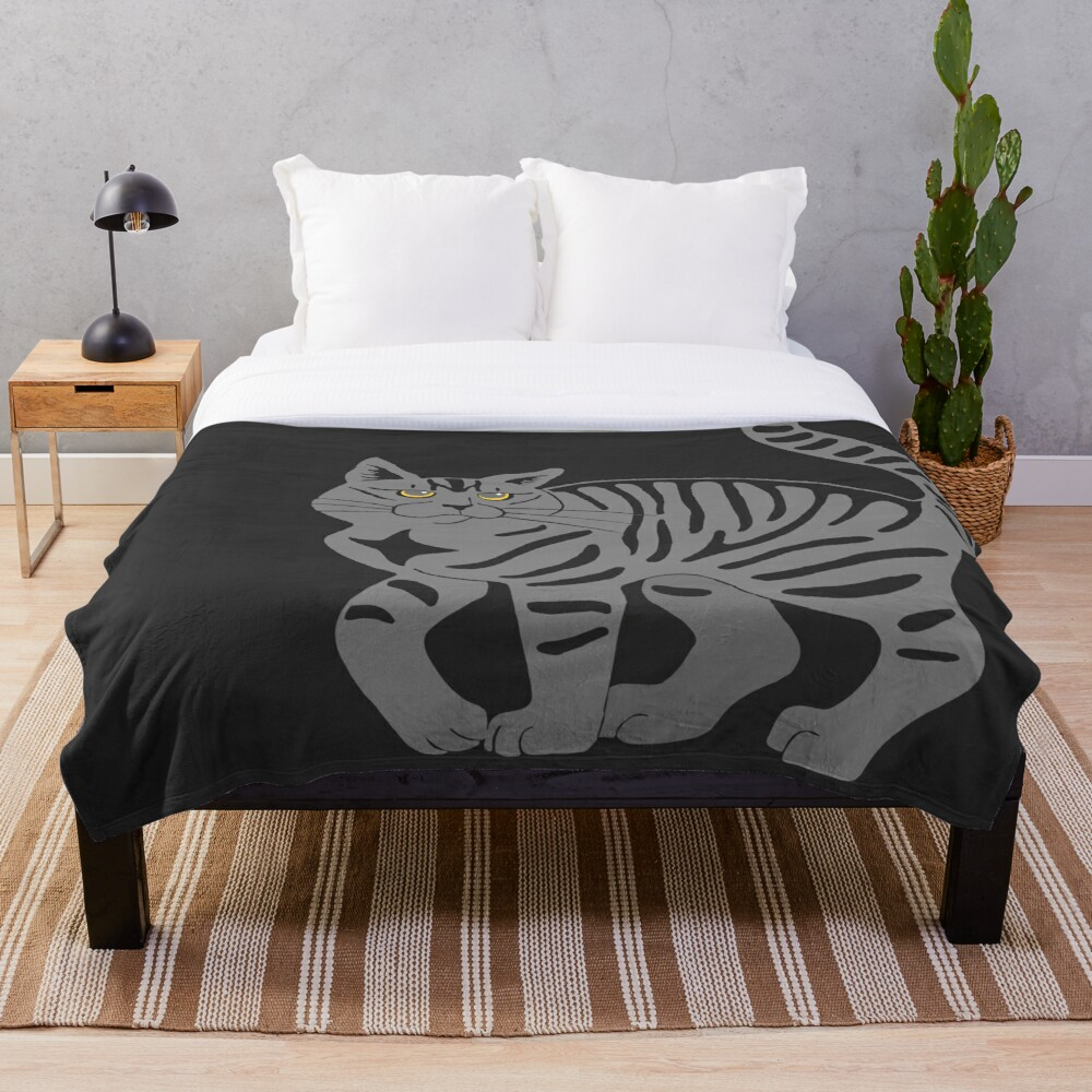 Gray Tabby Cat - tiger stripe Throw Blanket