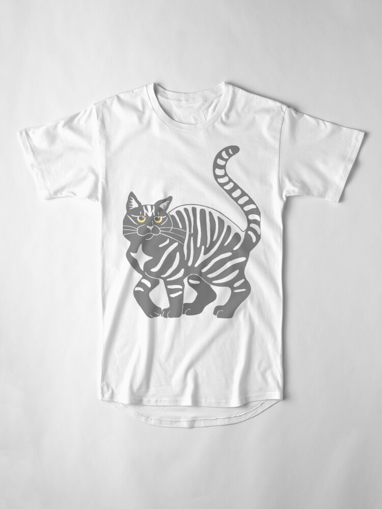 Alternate view of Gray Tabby Cat - tiger stripe Long T-Shirt