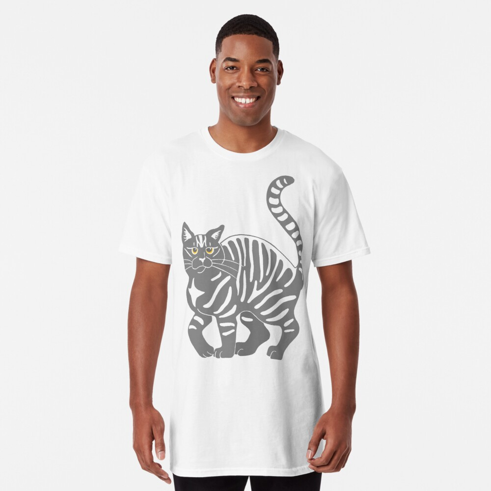 Gray Tabby Cat - tiger stripe Long T-Shirt