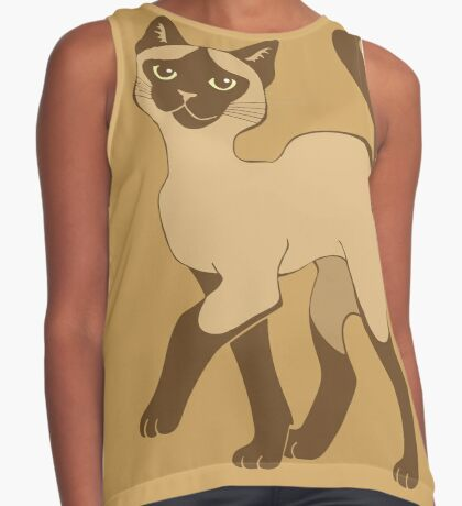 Strutting Siamese Cat - brown point Sleeveless Top