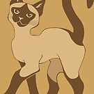 Strutting Siamese Cat - brown point by ferinefire