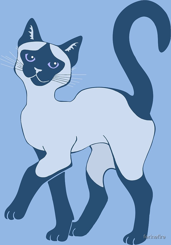Strutting Siamese Cat - blue point by ferinefire