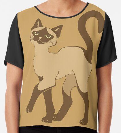 Strutting Siamese Cat - brown point Chiffon Top