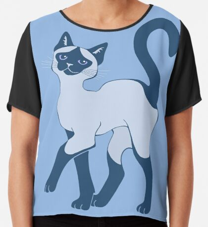 Strutting Siamese Cat - blue point Chiffon Top