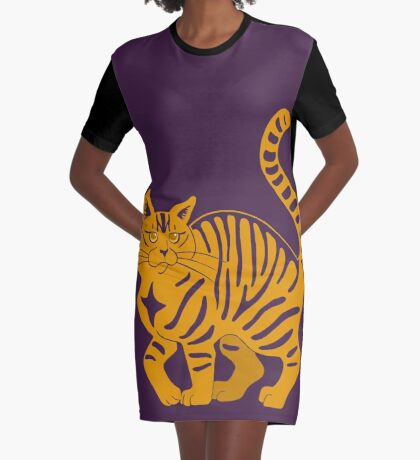 Orange Tabby Cat - tiger stripe Graphic T-Shirt Dress
