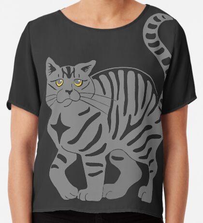 Gray Tabby Cat - tiger stripe Chiffon Top