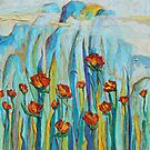Poppies with Mountains by Joselyn Holcombe