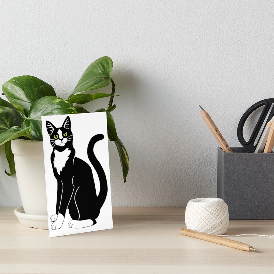 Tuxedo Cat Art Board Print