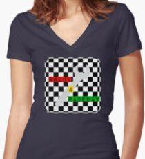 Schwarz-Weiß-Check Checkered Flag Motorsport-Renntag + Schach Shirt mit V-Ausschnitt