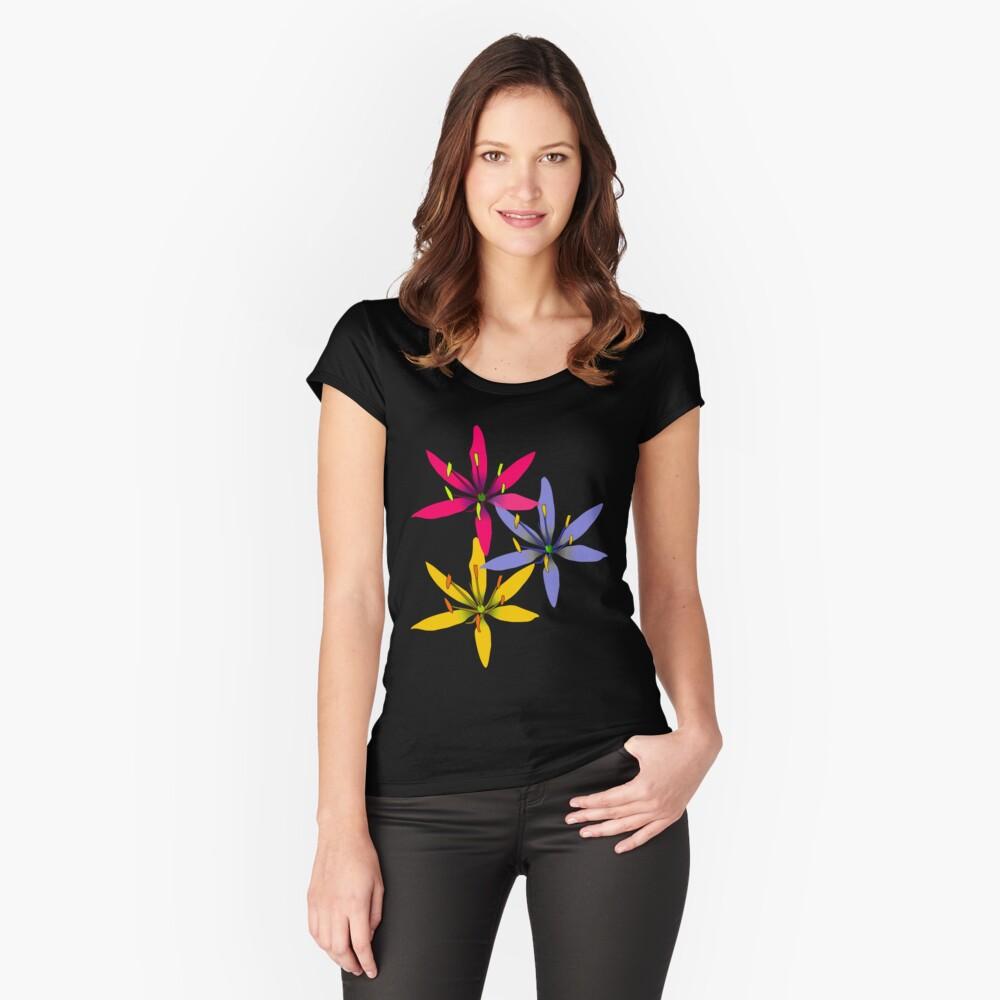 tropische Blüten, Blumen Tailliertes Rundhals-Shirt
