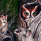 Sentinels -  Eastern screech owls by ferinefire