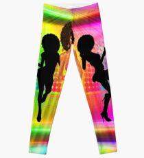 Retro disco dance scene with silhouettes Leggings