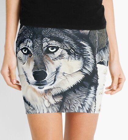 Three for the Wild - gray wolves Mini Skirt
