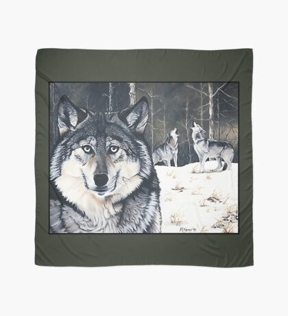Three for the Wild - gray wolves Scarf