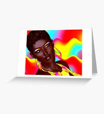 Beautiful Black Woman with colorful make up  Greeting Card