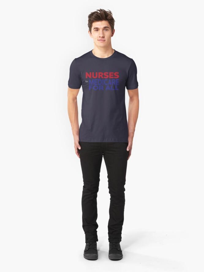 Alternate view of Nurses for Medicare for All Slim Fit T-Shirt